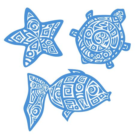 Monochrome stylized image of a turtle, fish and starfish. Blue object isolated on white background. Logo, icon, print, symbol or tattoo. Ethno style with decorative ornament. Vector illustration.