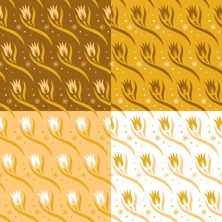Set of seamless patterns with flowers (tulip buds), leaves and waves. Floral ornament on beige, yellow and brown backgrounds. Repeating texture for wallpaper design, textile, wrapping paper. Vector.