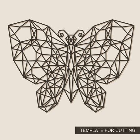 Butterfly with a geometric pattern. Polygonal wireframe vector illustration. Framework made of cardboard, metal, plywood. Template for laser cutting, wood carving, paper cut and printing. Illustration