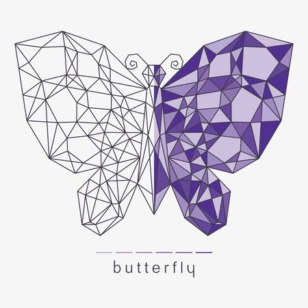 Butterfly with a geometric polygonal pattern. Wireframe vector illustration divided into two halves - frame and colored purple. Modern trendy line design. Stylish logo, badge, decoration, print.
