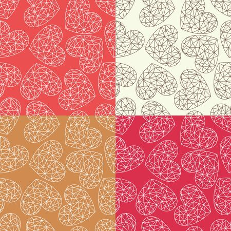 Set of seamless patterns with polygonal hearts. Red, pink and beige decorative backgrounds for wedding card or valentines day. Repeating texture for wallpaper design, textile, wrapping paper. Vector. Ilustracja