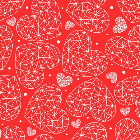 Seamless patterns with polygonal hearts (like crystal or diamond). Red decorative background for wedding card or valentines day. Repeating texture for wallpaper design, textile, wrapping paper. Vector Ilustracja