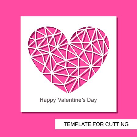 Romantic card with a carved heart. Polygonal triangular shape of a crystal or diamond. Gift for valentines day or wedding. Template for laser cutting, wood carving, paper cutting and printing. Vector. Illustration