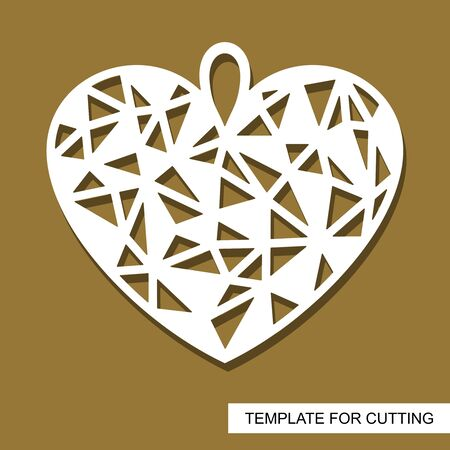 Decorative pendant with polygonal geometric heart. Decor or gift for a wedding or February 14 (Valentine's Day). Template for laser cut, wood carving, paper cutting and printing. Vector illustration.