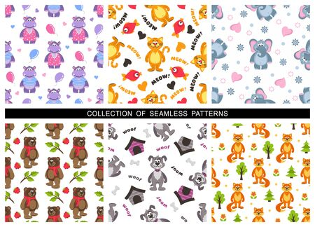 Set of childrens seamless patterns on a white background. Zoo theme. Cute cat, hippo, elephant, fox, dog, bear. Repeating texture for wallpaper design, textile, wrapping paper. Vector illustration.
