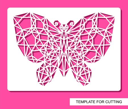Panel with perforated geometric polygonal butterfly. Modern linear design. Postcard or home decor. Template for laser cutting, wood carving, paper cut and printing. Vector illustration.