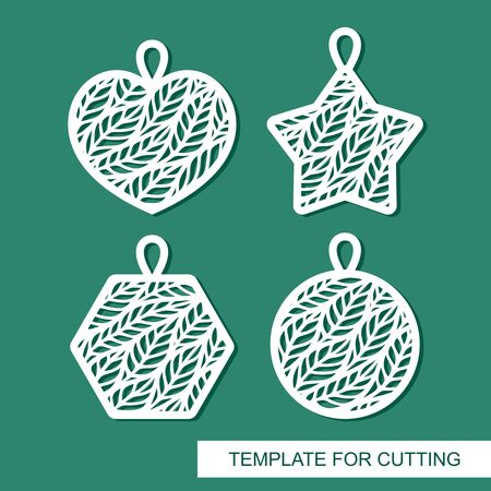 Set of pendants in the shape of a heart, star, circle, hexagon. Beautiful lace floral pattern of leaves. Vector template for laser cutting, metal engraving, wood carving, paper cut or printing. Illustration