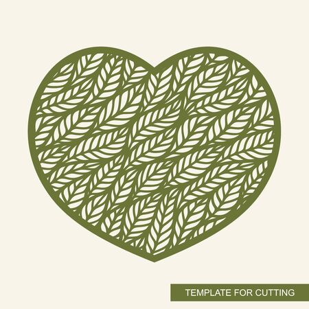 Decorative panel in the shape of a heart. Floral pattern of leaves. Openwork template for laser cutting, metal engraving, wood carving, plywood, cardboard, paper cut. Plant theme. Vector illustration.