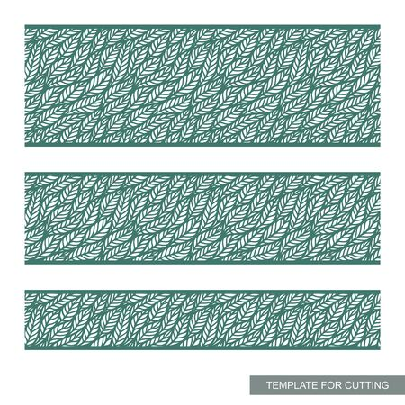 Seamless border with a pattern of leaves. Beautiful edge treatment with floral ornaments. Different width of panels. Green elements on a white background. Vector template for laser cutting or printing