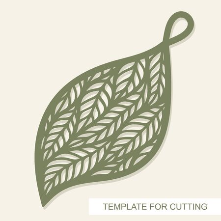 Leaf-shaped pendant with plant structure inside. Openwork template for laser cutting, metal engraving, wood carving, plywood, cardboard, paper cut or printing. Floral pattern. Vector illustration. 矢量图像