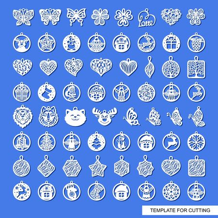 Big set of cute Christmas decorations with patterns, animals, flowers, leaves, snowflakes. Template for laser cutting, metal engraving, wood carving, plywood, cardboard, paper cut. Vector illustration