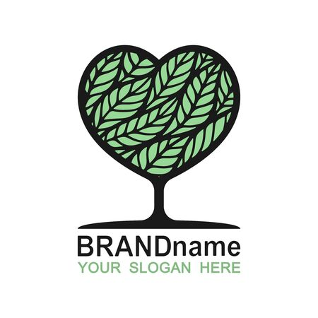 Logo tree heart with green leaves. Eco icon, sign, symbol, brand identity for business, agriculture, cosmetics, organic products, natural healthy foods, environmental projects. Vector illustration. 向量圖像