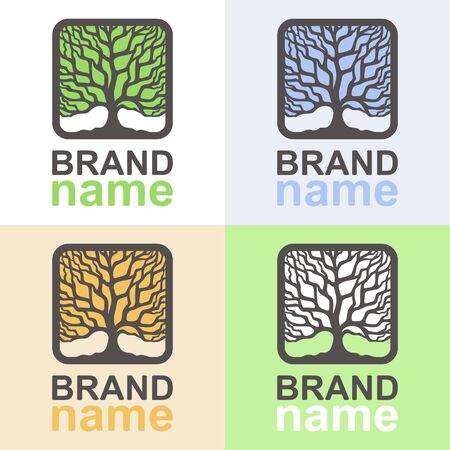 Set of tree logos at different times of the year. Square icons with brown branches and trunks on a white, blue, orange and green background. Icon, sign, symbol or brand identity. Vector illustration.