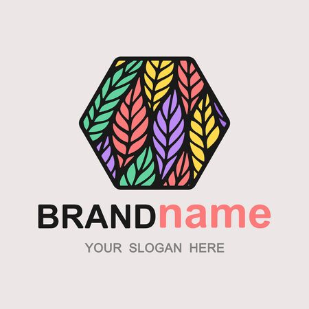 Stylish bright logo with colorful leaves (feathers). Hexagon icon, fashionable sign, cute symbol, trendy logotype, brand identity for business, clothing store, cosmetics boutique. Vector illustration.