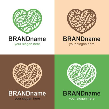 Set of logos of hearts with leaves, spikelets on a white, beige, green, brown background. Eco icon, sign, symbol, brand identity for agriculture, cosmetics, organic, natural healthy foods, bakeries. 向量圖像