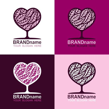 Set of logos of tree hearts in burgundy, red, pink colors. Trendy icon, modern sign, symbol, brand identity for business, agriculture, cosmetics, organic products, grocery or bread shop. Vector image.
