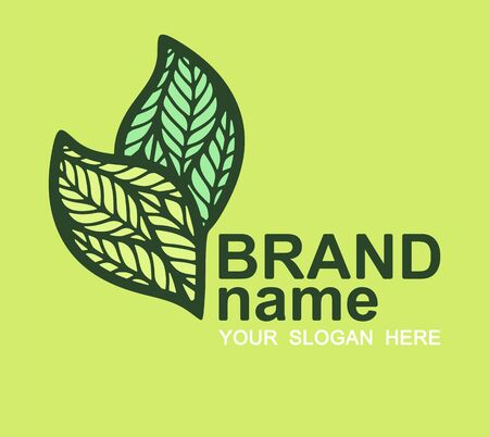 Logo with two leaves on a green background. Eco icon, bio sign, symbol, brand identity for business, cosmetics, organic products, natural healthy foods, environmental projects. Vector illustration.