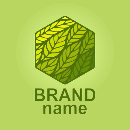 Logo hexagon with green leaves inside. Eco icon, sign, symbol, brand identity for business, agriculture, cosmetics, organic products, natural healthy foods, environmental projects. Vector illustration