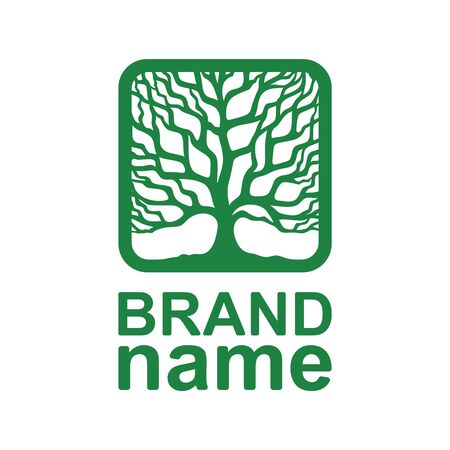 Logo silhouette of a tree crown without leaves. Green branches and trunk in a square frame. Icon, sign, symbol, brand identity for agriculture, bio, eco, natural, organic foods. Vector illustration. 向量圖像