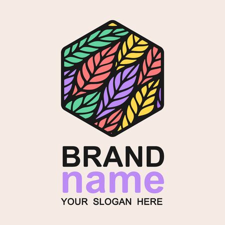 Colorful hexagon logo with multicolor bright leaves (feathers). Trendy icon, sign, symbol, brand identity for business, cosmetic, product, fashion industry, clothing store, shop. Vector illustration.