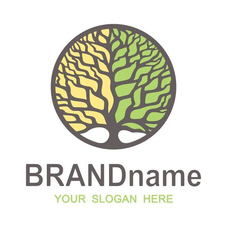 Tree of life logo in a round frame. Two-tone crown of yellow and green colors. Brown branches, trunk, text, words. Icon, sign, symbol, brand identity for agriculture, bio, eco, natural, organic foods.