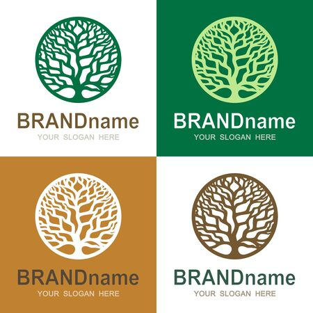 Set of logos with a round tree of life. Green branches without leaves and trunk. Eco icon, sign, symbol, brand identity for business, organic products, natural healthy foods, environmental projects. 向量圖像