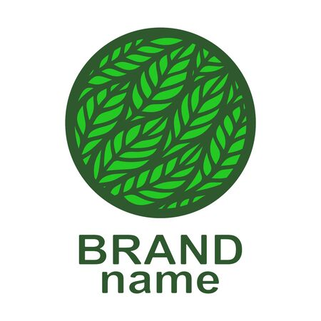 Round green logo with leaves, ears of corn. Eco icon, sign, symbol, brand identity for business, agriculture, cosmetics, organic products, natural healthy foods, environmental projects. Vector image.