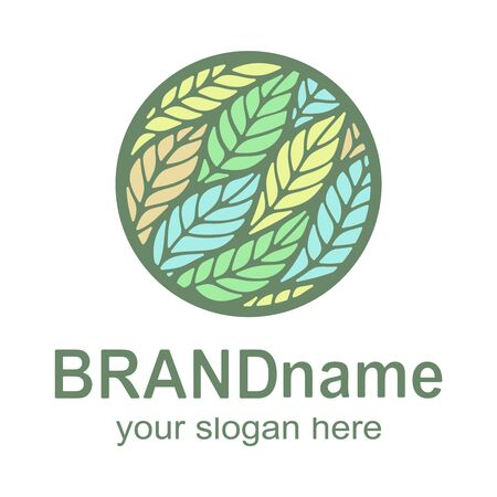 Round logo with colorful leaves (feathers) - yellow, green, blue, orange. Eco icon, bio sign, symbol, brand identity for business, agriculture, organic products, natural healthy foods. Vector image. 向量圖像