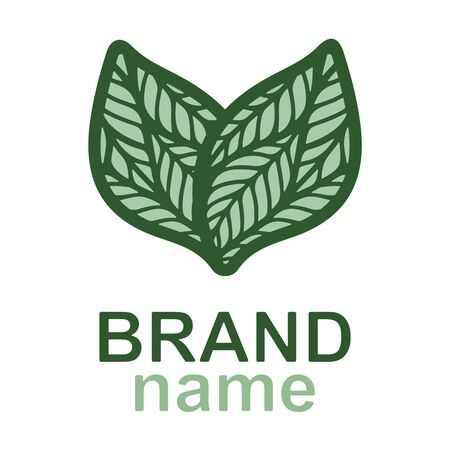 Eco logo with two green leaves on white background. Icon, sign, symbol, brand identity for business, cosmetics, organic products, natural healthy foods, environmental projects. Vector illustration.