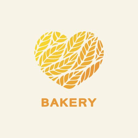Logo heart with yellow and orange spikelets of wheat inside. Text - bakery. Icon, sign, symbol, brand identity for for a store, food shop, agricultural products, flour mills. Vector illustration. 向量圖像