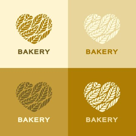 Set of hearts with leaves (ears) in yellow, brown, beige colors. Icon, sign, symbol, brand identity for agriculture, flour products, organic, natural healthy food, bakery, grocery or bread shop. Vettoriali