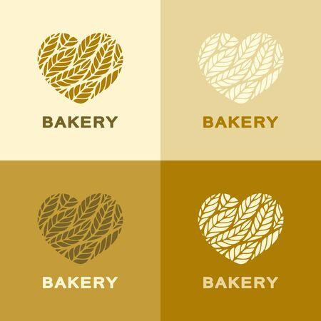 Satz Herzen mit Blättern (Ohren) in den Farben Gelb, Braun, Beige. Symbol, Zeichen, Symbol, Markenidentität für Landwirtschaft, Mehlprodukte, organische, natürliche gesunde Lebensmittel, Bäckerei, Lebensmittelgeschäft oder Brotladen. Vektorgrafik