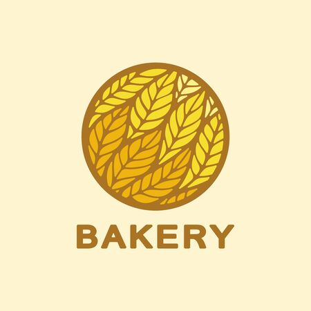Logo with yellow and orange spikelets of wheat in a round frame. Brown text - bakery. Icon, sign, symbol, brand identity for for a store, food shop, agricultural or flour products. Vector illustration 向量圖像