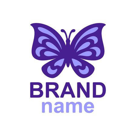 violet butterfly with a purple outline on a white background. Icon, sign, brand identity for business, cosmetic, fashion, beauty salon, hairdresser, yoga studio, kids club. Vector image.