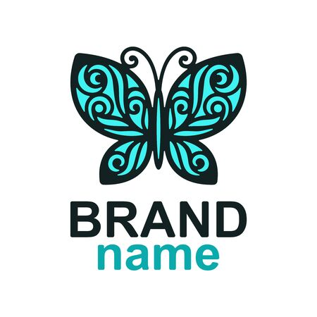 beautiful blue openwork butterfly with a dark outline on a white background. Icon, sign , brand identity for business, cosmetic, fashion, beauty salon, hairdresser, yoga studio, kids club.