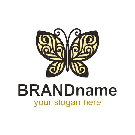 Logo light yellow butterfly with a black outline and an openwork pattern of wings on a white background. Vector icon and sign for corporate identity, kids club, flower shop or gift store.
