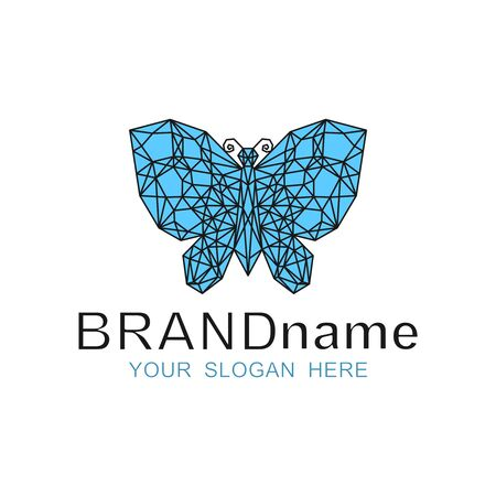 Blue polygonal butterfly . Beautiful icon, stylish sign, symbol, brand identity for boutique of women's jewelry, bijouterie store, fashion business, cosmetic, beauty salon, hairdresser. Vector.