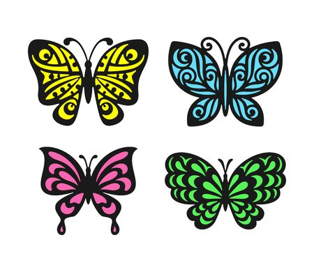 Set of beautiful multi-colored openwork butterflies with a black outline. Colorful Isolated objects on a white background.  design elements, web icons, cute symbols. Vector illustration Ilustração