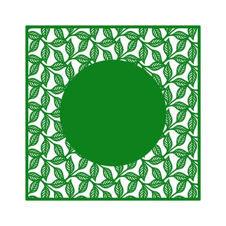 Openwork square frame with a pattern of leaves and copy space in the shape of a circle in the middle. Decorative element for plotter cutting, paper cut, plywood, cardboard, wood carving, printing.