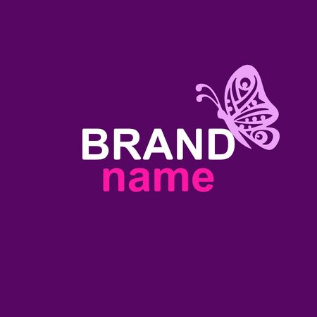 Vector  with a pink butterfly profile sits on the text (brand name) on a dark purple background. Modern sign, logotype template for womens clothing store, beauty salon, hairdresser or kids club. Ilustrace