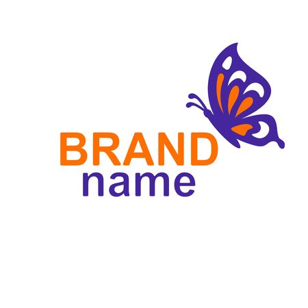 Logo with a butterfly sitting in profile (sideways) on the text - brand name. Violet and orange colors. Simple vector icon or sign for business, corporate identity, spa and beauty salon, flower shop. Ilustração