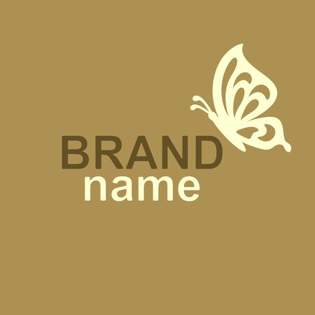 Asymmetric logo with a beige butterfly sitting on the edge of the letter. Brown text Brand Name on gold background. Modern sign, logotype template for womens store, cosmetics, beauty salon, kids club.