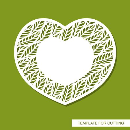 Vector card in the shape of a heart with a pattern of leaves and copy space (place for text) in the middle. Design element for plotter cutting. Template for paper cut, metal engraving, wood carving.