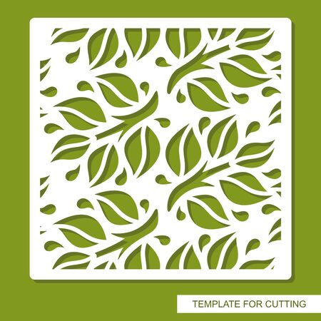 Vector square frame with a pattern of branches, leaves. Design element, sample panel for plotter cutting, handmade. Template for paper cut, plywood, cardboard, metal engraving, wood carving, printing.