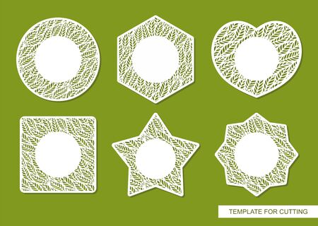Set of vector lace frames of different shapes (circle, square, heart, star) with copy space in the center. Blanks for cards with a pattern of leaves along the edge. Vector template for laser cutting. Ilustração