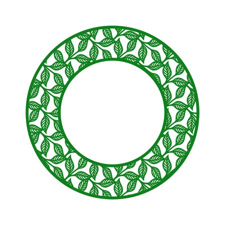 Round photo frame with a pattern of twigs and leaves. Green border on a white background. Vector design element for plotter cutting, handmade. Template for paper cut, plywood, cardboard, engraving.