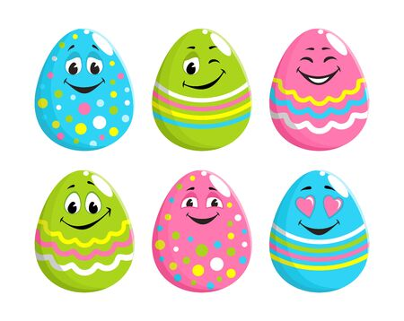Set of cheerful decorated easter eggs with faces, eyes, mouth. Cartoon characters with positive emotions, funny smiles. Blue, green pink color with a striped pattern, polka dot, zigzag. Vector image.