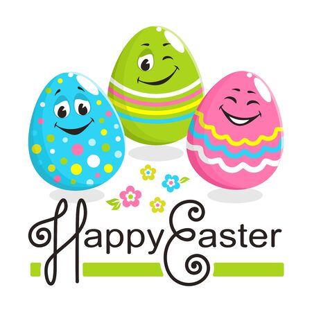 Square colorful greeting card with text: Happy Easter. Three cheerful bright painted egg characters with cute laughing faces. Pink, green and blue colors. Cartoon flat style. Vector illustration.