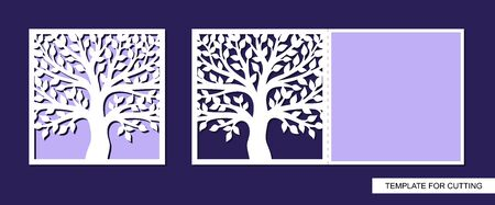 Greeting card folding in half with a tree and leaves. Spring and summer theme of nature. Place for text (copy space). Template for plotter laser cutting of paper, cardboard. Vector illustration. 일러스트