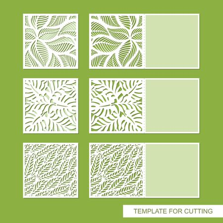 Set of cards folding in half with a floral pattern of leaves cut out of paper. Beautiful vector invitation or congratulation template. Place for text (copy space). Design for plotter laser cutting. Ilustracja